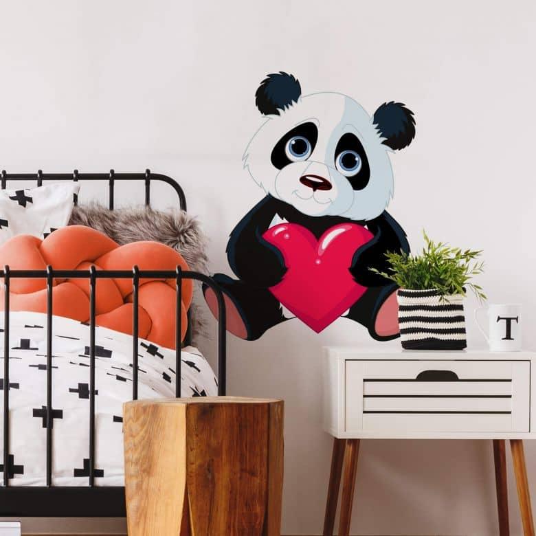 Panda with Heart - Wall Sticker