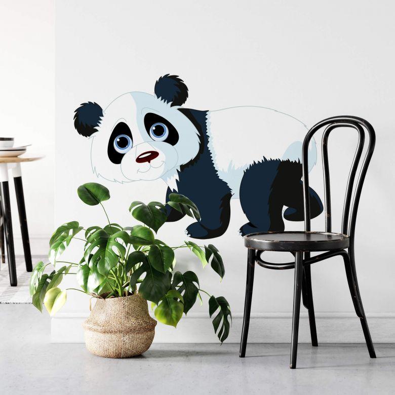 Muursticker Lopende Panda
