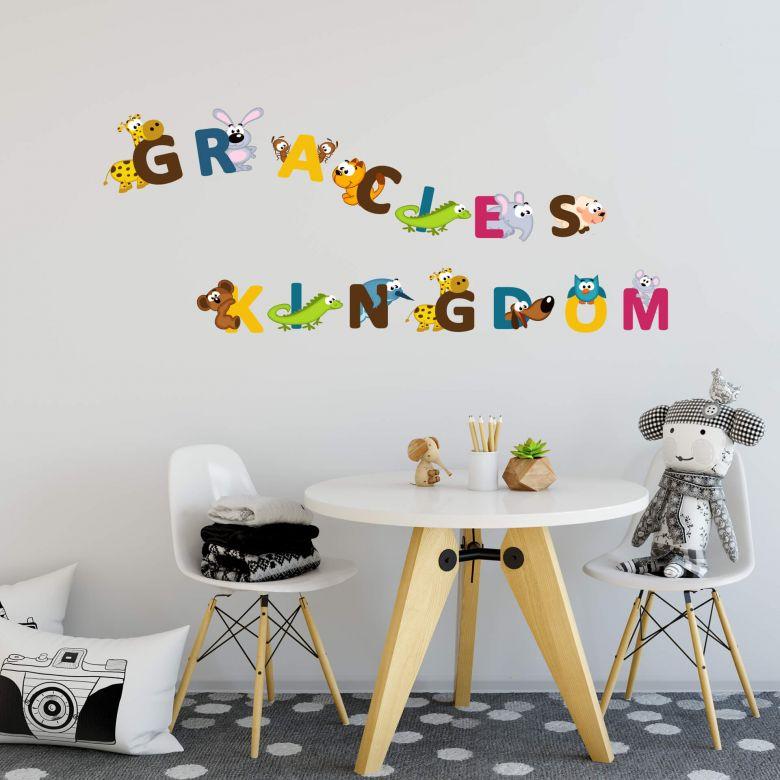 Muursticker + Naam Kinder Alfabet (engels)