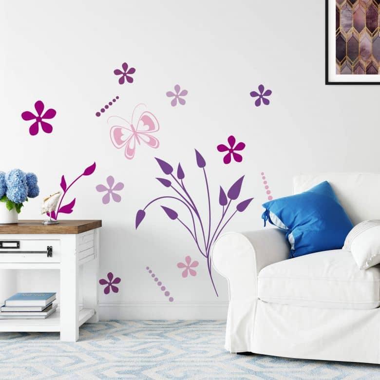 Sticker mural - Violettes Papillonnantes