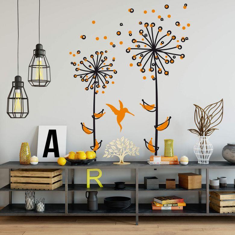 Sticker mural - Pissenlit orange