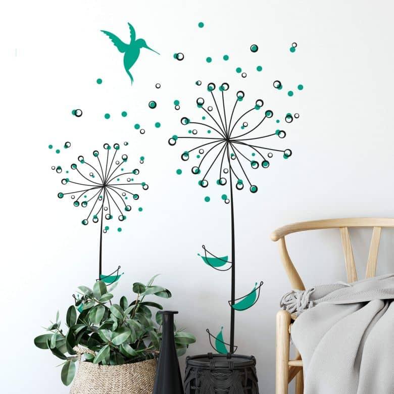 Sticker mural - Pissenlit vert menthe