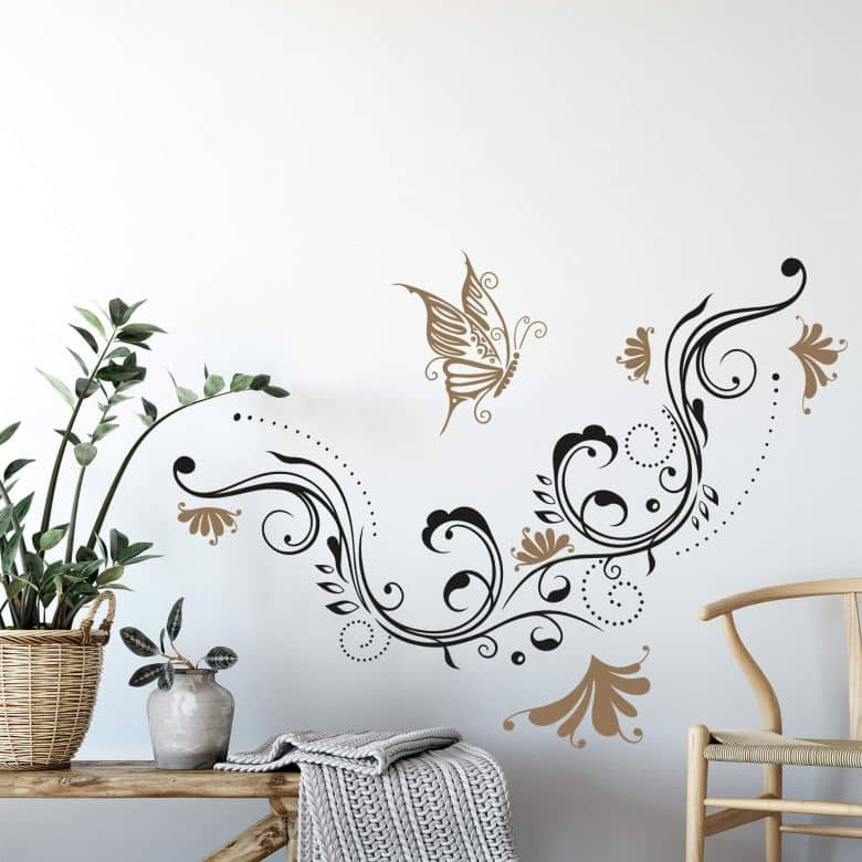 Sticker mural - Vrille de fleurs 7 (bicolore)