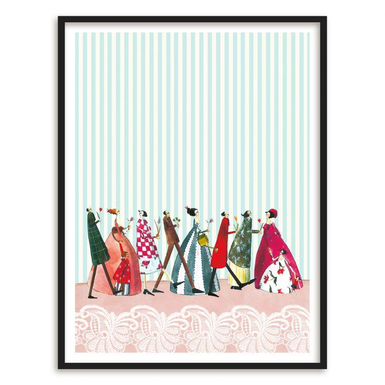 Poster mit Bilderrahmen Silke Leffler - Familienbesuch   wall-art.de