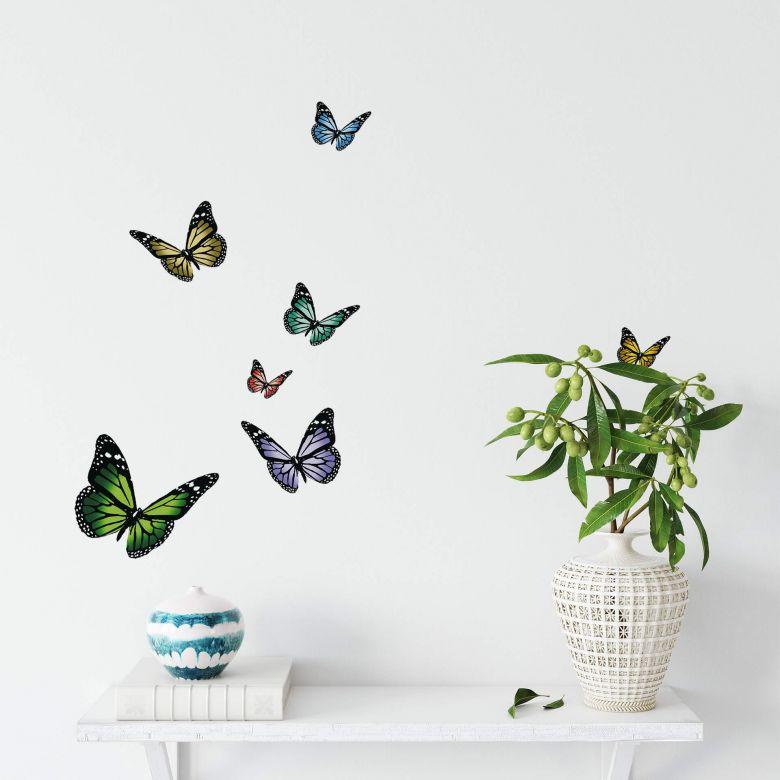 Wandtattoo Schmetterlinge Set Bunte Schmetterlinge Als Wandsticker Wall Art De