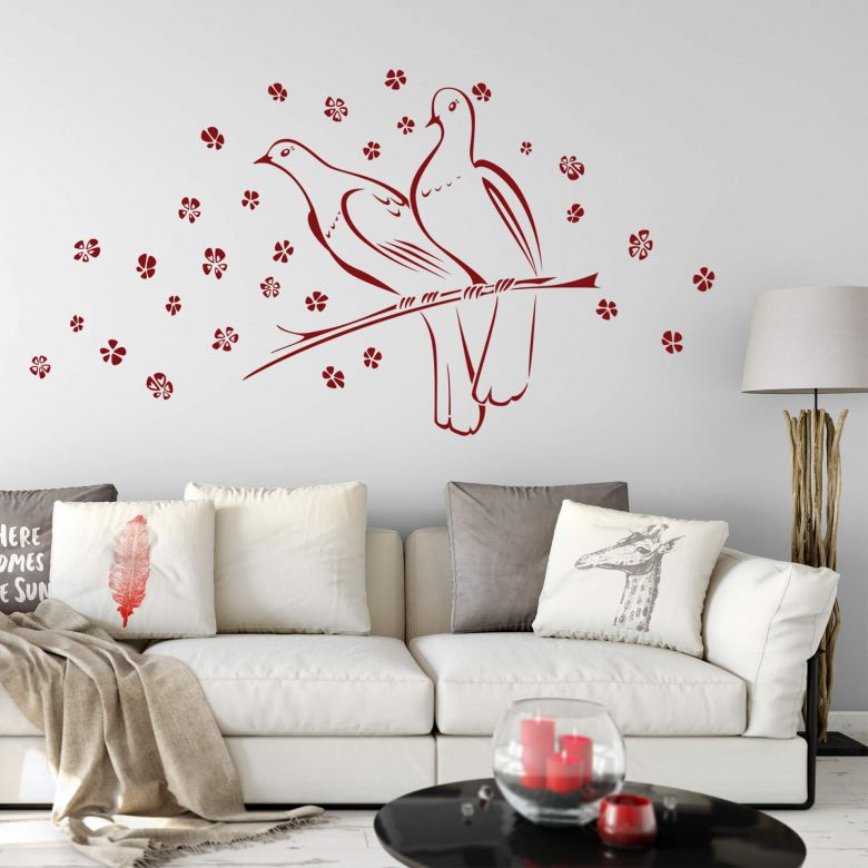 Adesivo murale - Nozze di colombe