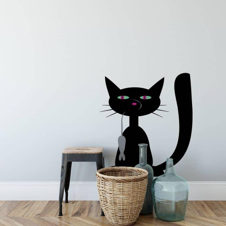 Sticker mural - Chat noir avec souris 2