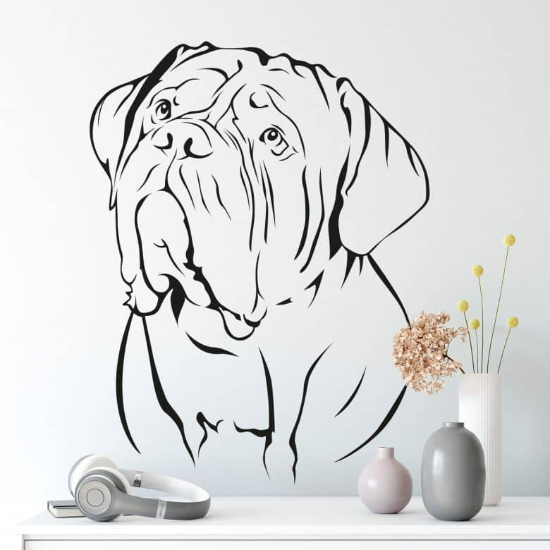 Muursticker Hond Bordeaux