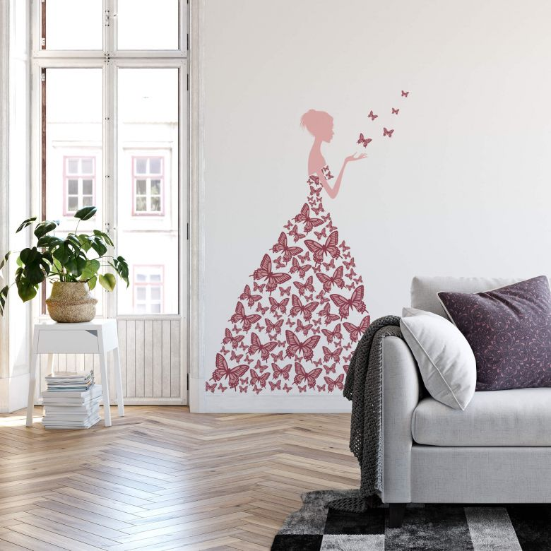 Lady with Butterflies - mauve Wall sticker