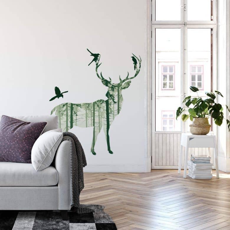 Wandtattoo Hirsch Silhouette grün