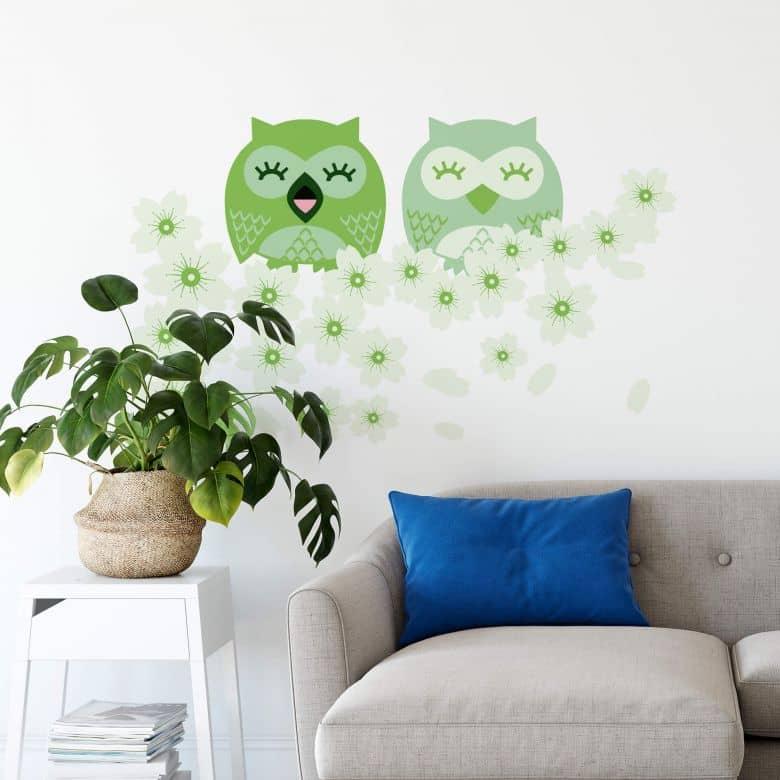 Wandtattoo Kirsch-Eulen grün