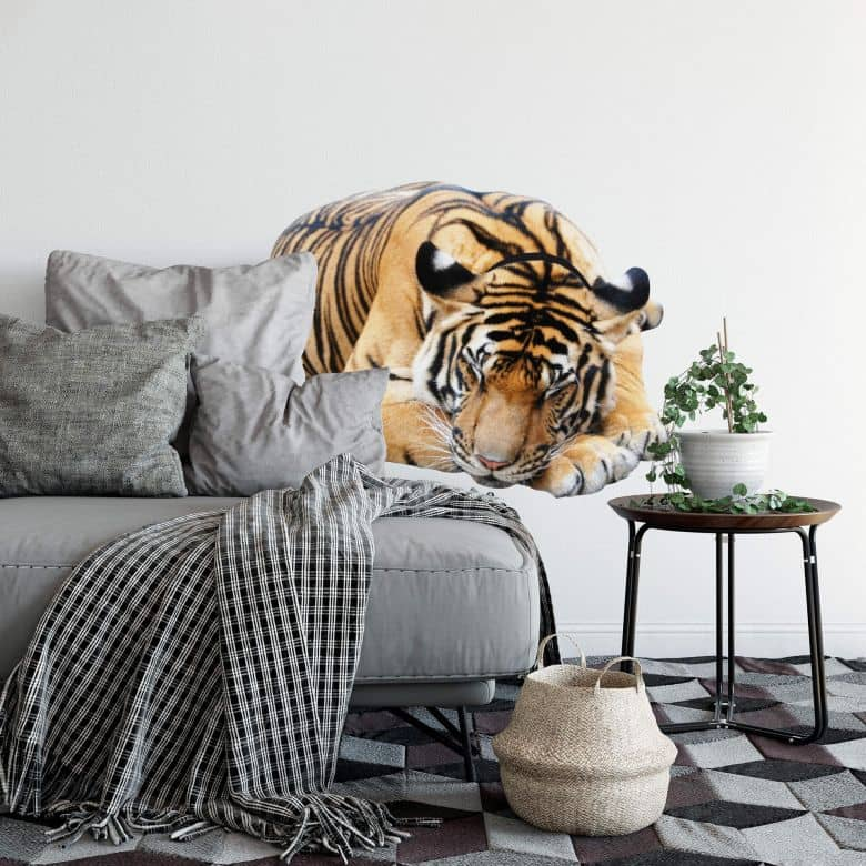 Real looking resting tiger Wall sticker