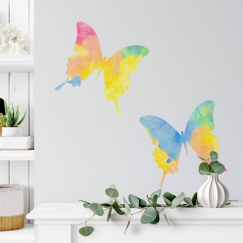 Adesivo murale -acquarello coppia di farfalle