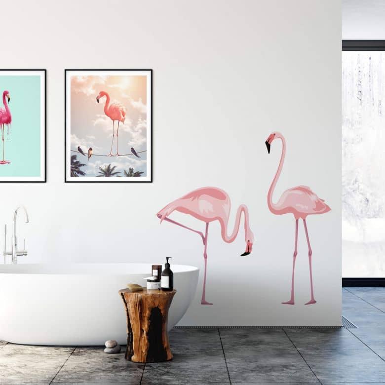 Wandtattoo Farbenprächtiges Flamingo-Pärchen