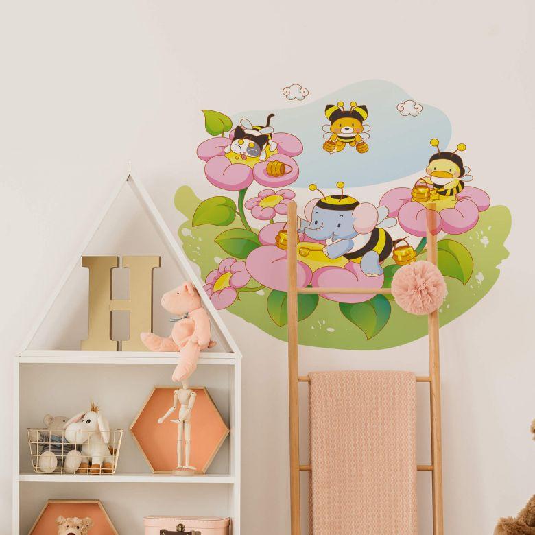Wandtattoo Die vier Tierfreunde - Honigsammler