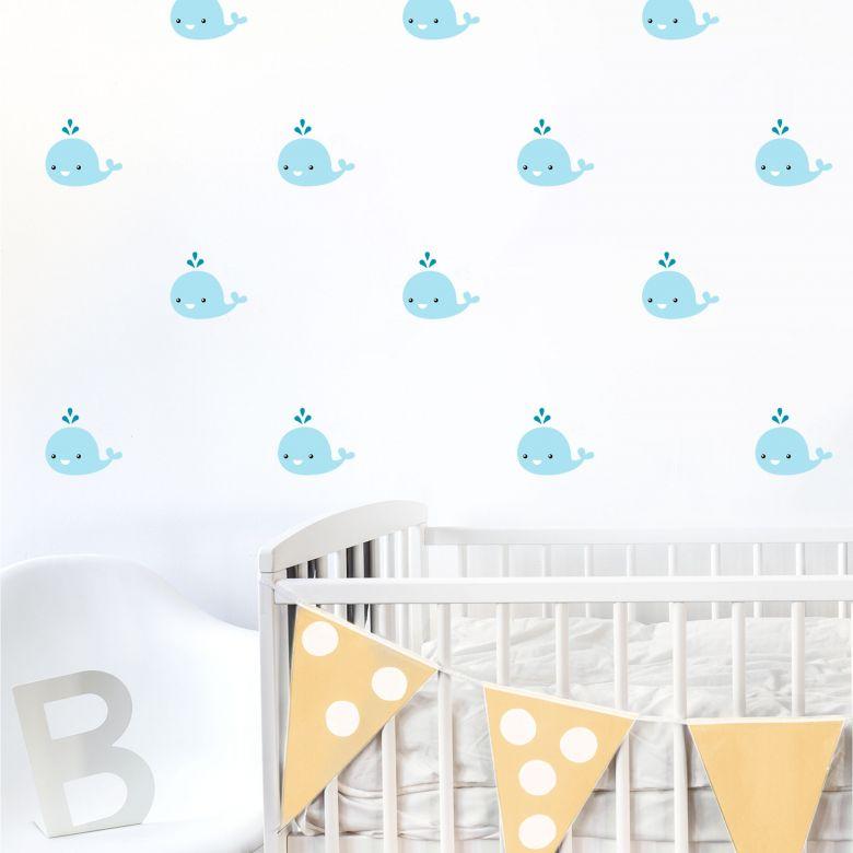 Sticker mural - Set bébé baleine