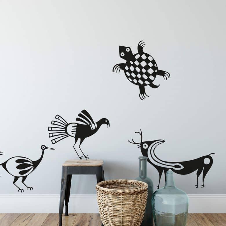 Sticker mural - Animaux Aztèques 1