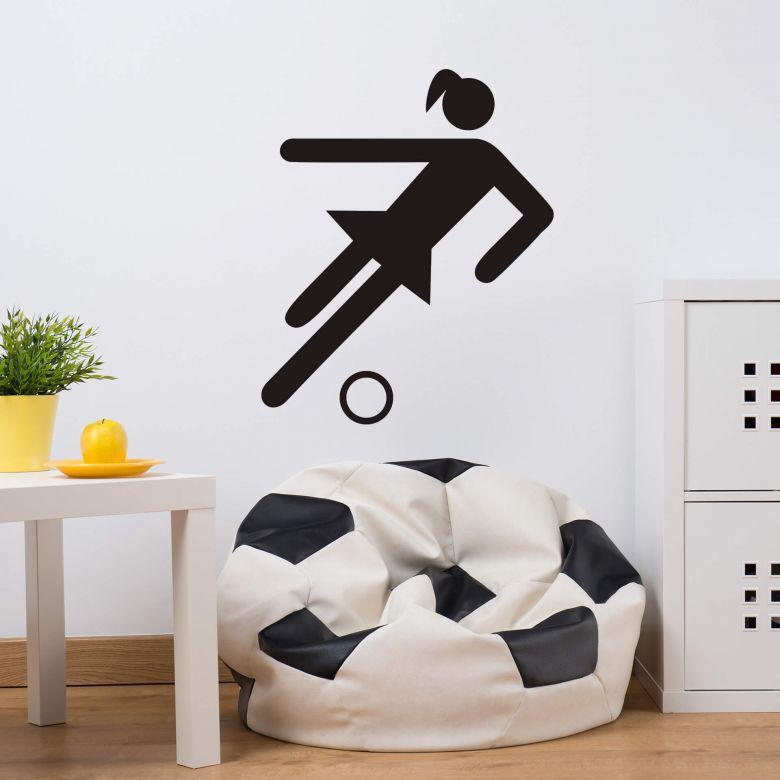 Wandtattoo Frauenfussball Piktogramm