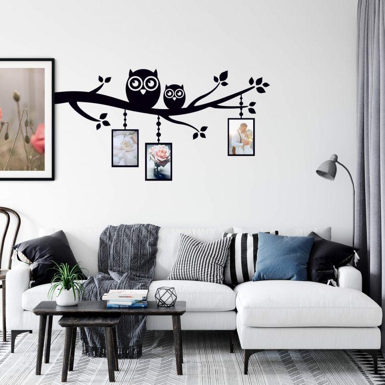 Sticker mural - Branche avec hiboux et cadres photos