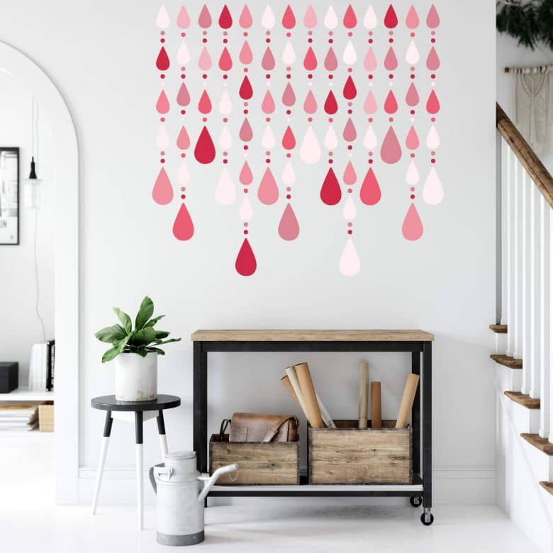 Farbduo An Der Wand Rot Und Grau: Wandtattoo Kristall Vorhang Rot