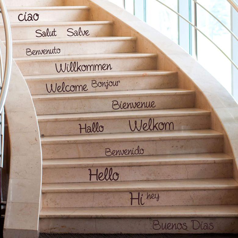 Stufen-Wandtattoo Welcome