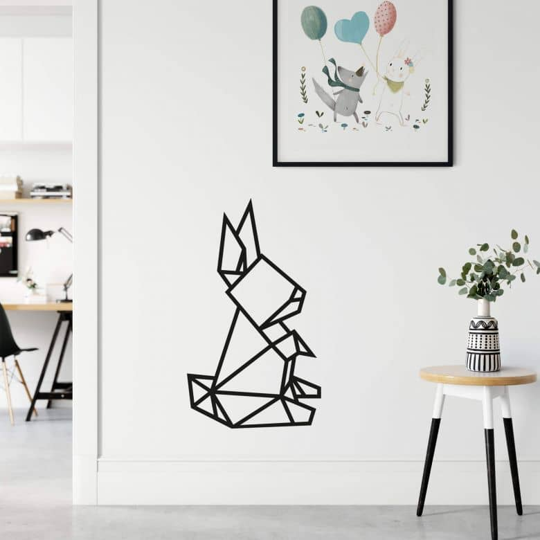 Wall sticker origami rabbit