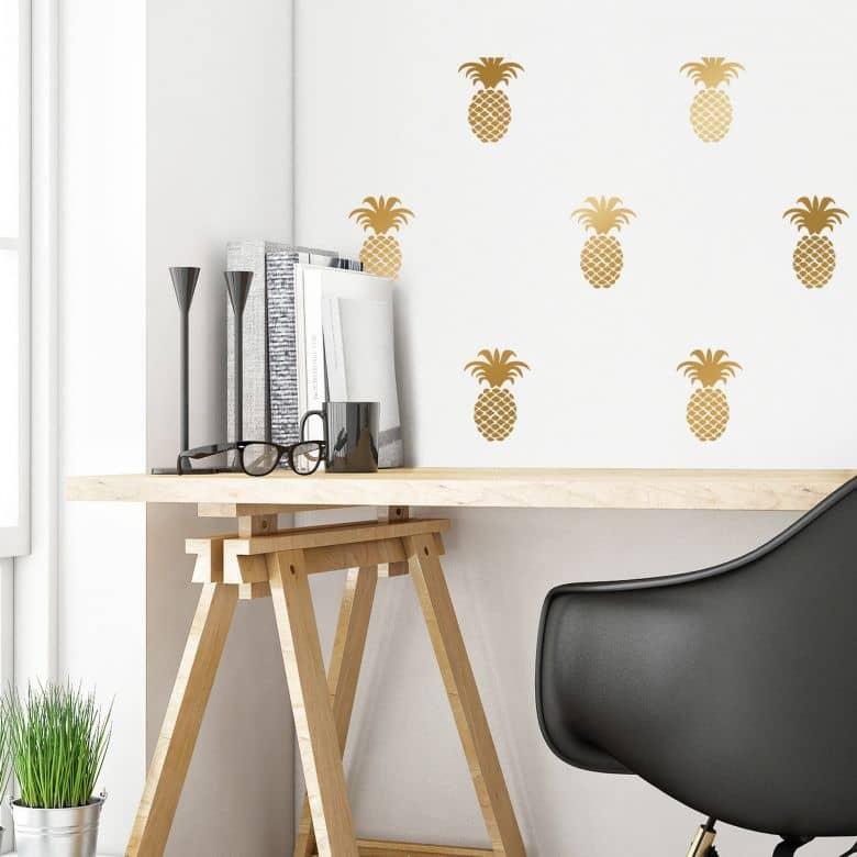 Sticker mural - Set d'ananas