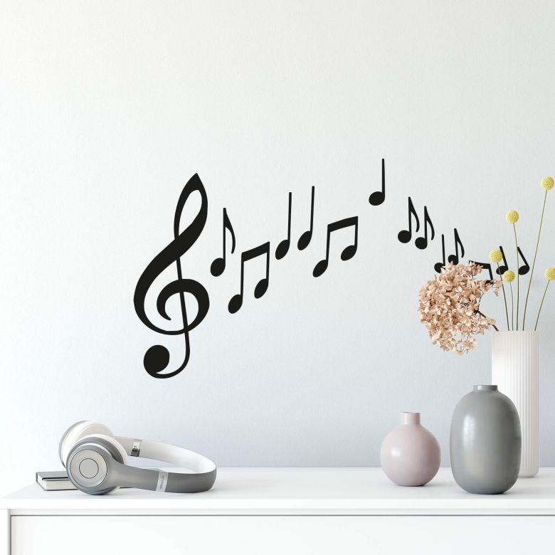 Sticker mural – Notes de musique