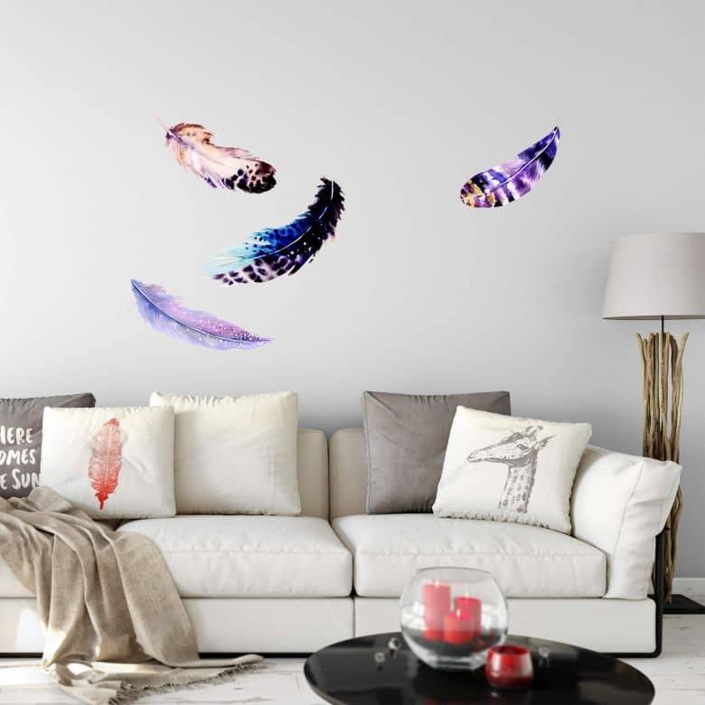 Sticker mural - Plumes Irisées effet aquarelle