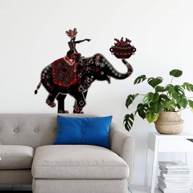 Muursticker Metallic Elephant Ride
