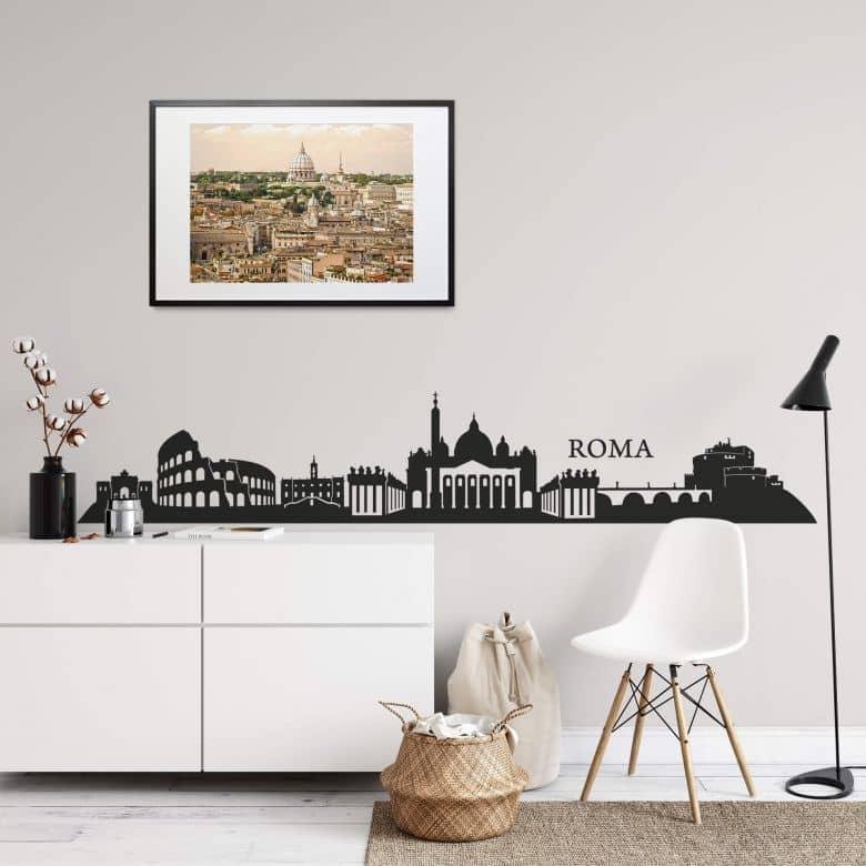 3D Wandtattoo mit Uhr 120cm  Kolosseum alte Kat15 Ruine Rom Italien White  Skyli