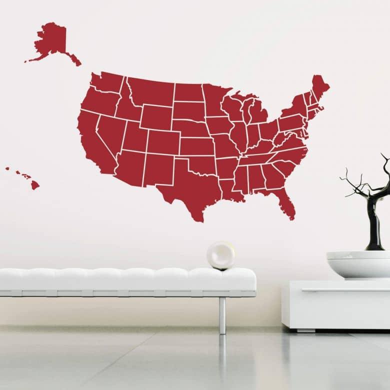 Muursticker Kaart van de Verenigde Staten