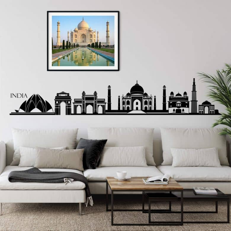 Muursticker India Skyline