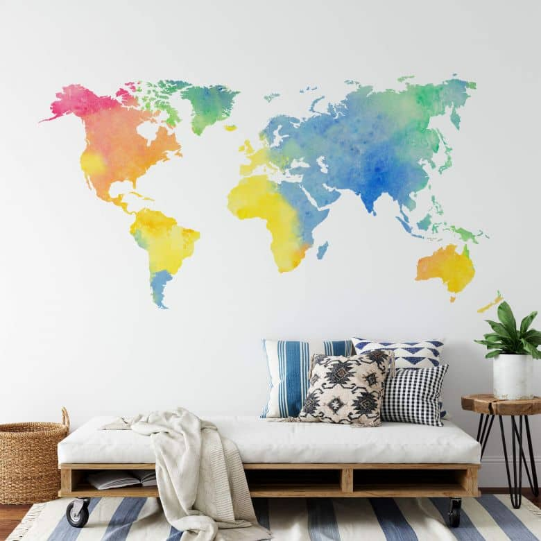 Water Colour World Map Wall sticker