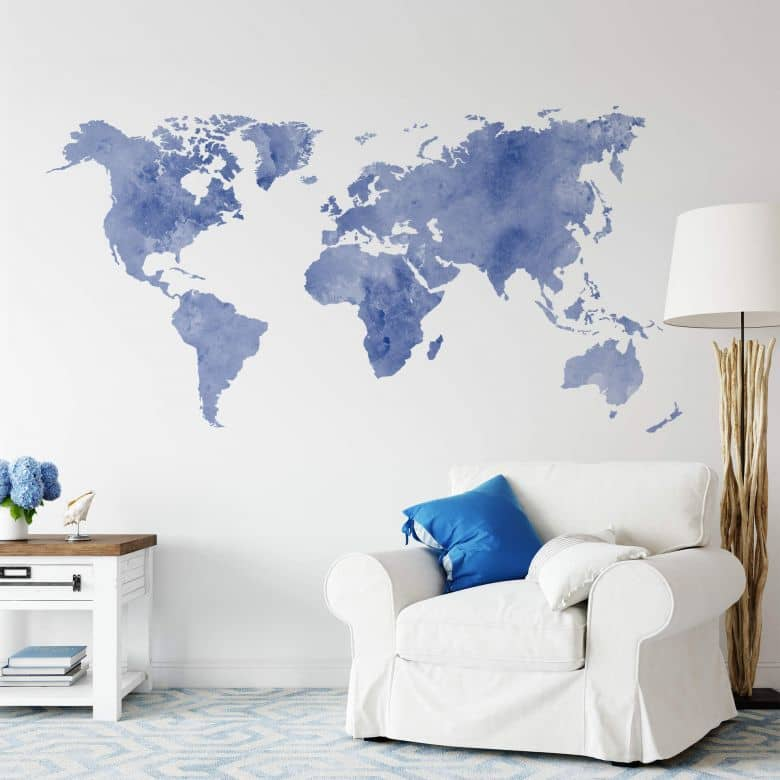 Water colour world map (blue) Wall sticker