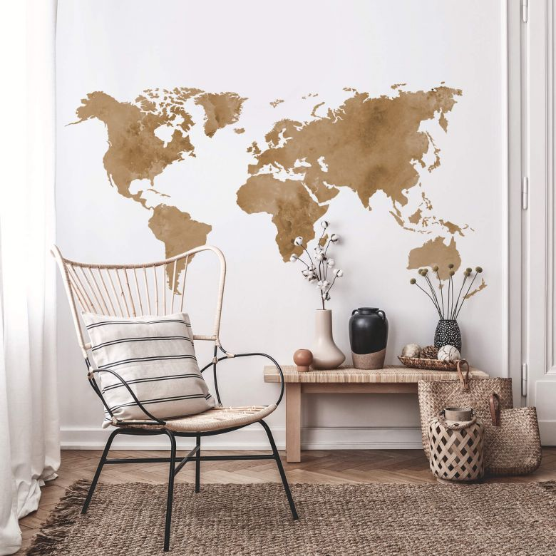 Wall sticker Water colour World Map -vintage brown