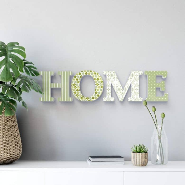 Decoratieletters   3D Letters \'HOME\' Groen