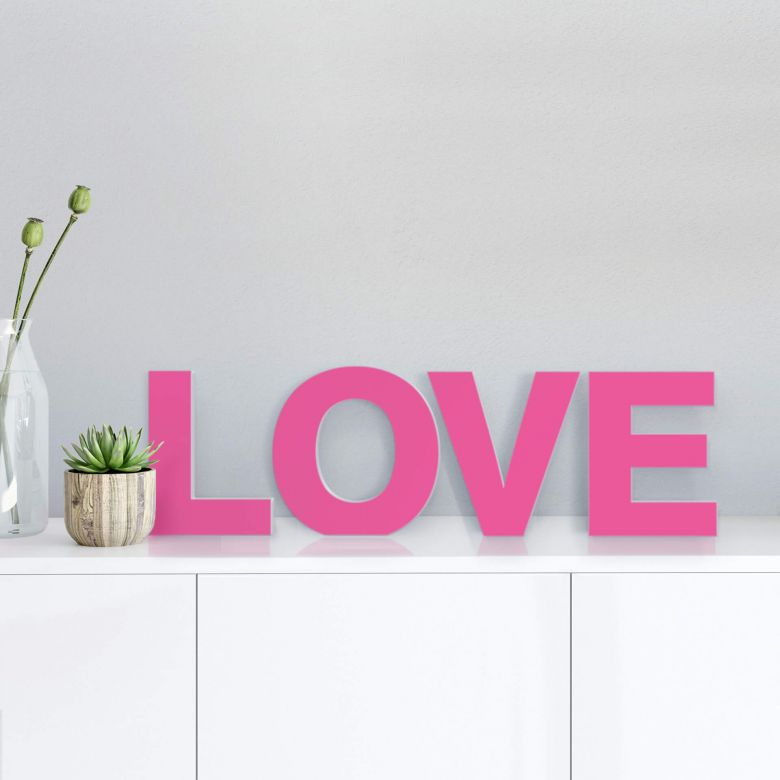 Lettre décorative - 3D LOVE rose