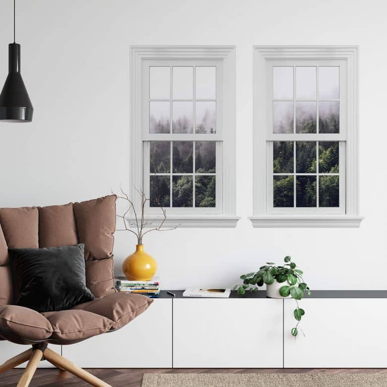 3D Wandtattoo Doppelfenster Nebliger Wald