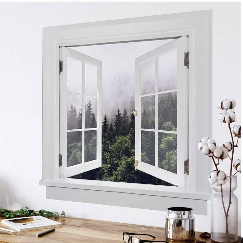 3D Wandtattoo Fenster quadratisch - Nebliger Wald