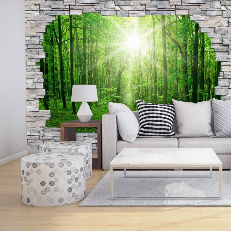 3d fototapete papiertapete sunny forest mauer wall. Black Bedroom Furniture Sets. Home Design Ideas
