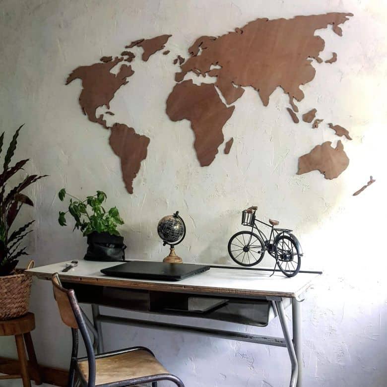 3D Verdenskort i mahognitræ
