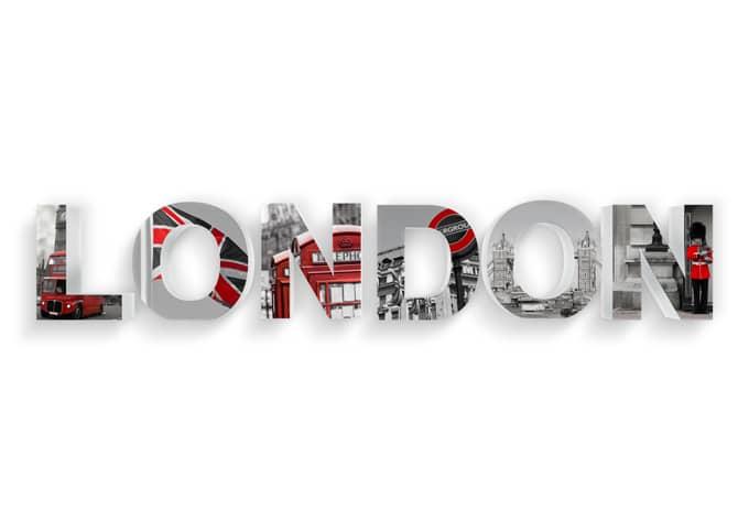 Dekobuchstaben 3D LONDON bedruckt