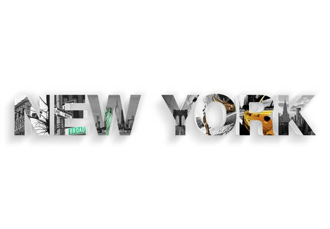 Dekobuchstaben 3D NEW YORK bedruckt