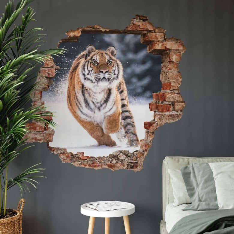 3D Wandtattoo van Duijn - Sibirischer Tiger im Schnee