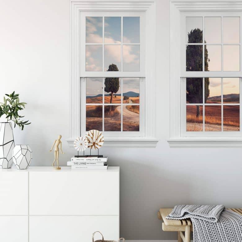 3D Wandtattoo Doppelfenster Colombo - Drei Zypressen am Weg
