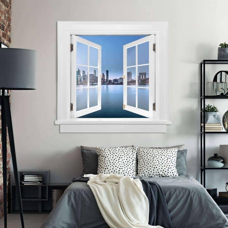 3d wandtattoo fenster blick auf die brooklyn bridge wall. Black Bedroom Furniture Sets. Home Design Ideas