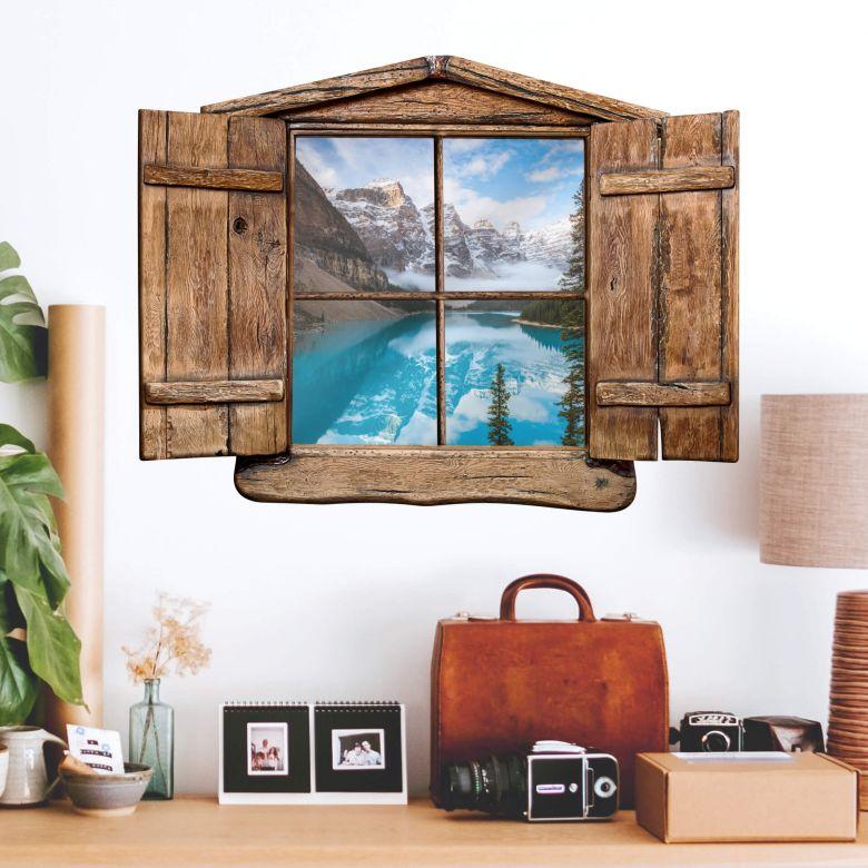 3D-Wandtattoo Holzfenster Colombo - Banff-Nationalpark in Kanada