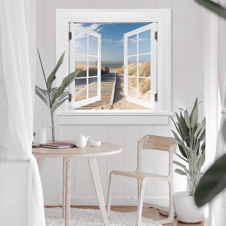 3D Wandtattoo Fenster quadratisch - An der Ostsee