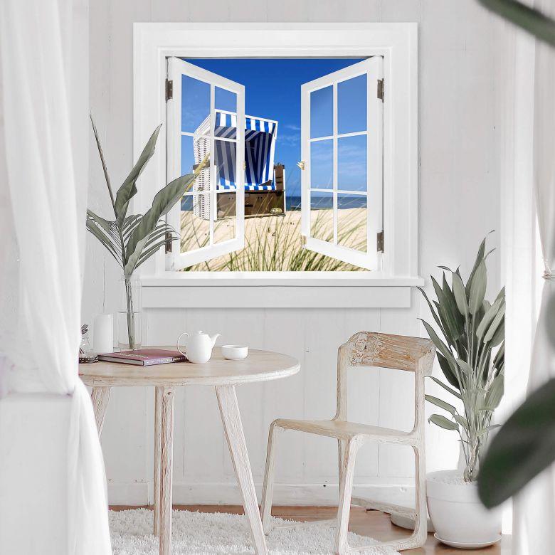3D Wandtattoo Fenster quadratisch - Strandkorb